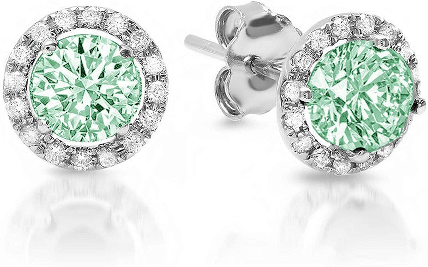 Clara Pucci 1.7 ct Brilliant Round Cut Halo Solitaire Genuine VVS1 Flawless Green Simulated Diamond Gemstone Pair of Solitaire Stud Screw Back Earrings Solid 18K White Gold