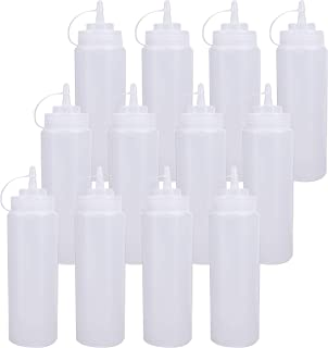 Bekith 12 pack 16 Oz Plastic Squeeze Condiment Bottles with Twist On Cap Lids and Discrete Measurements, Wide Mouth Empty Squirt Bottle For Sauce, Ketchup, BBQ, Dressing, Paint, Pancake Art Dispenser