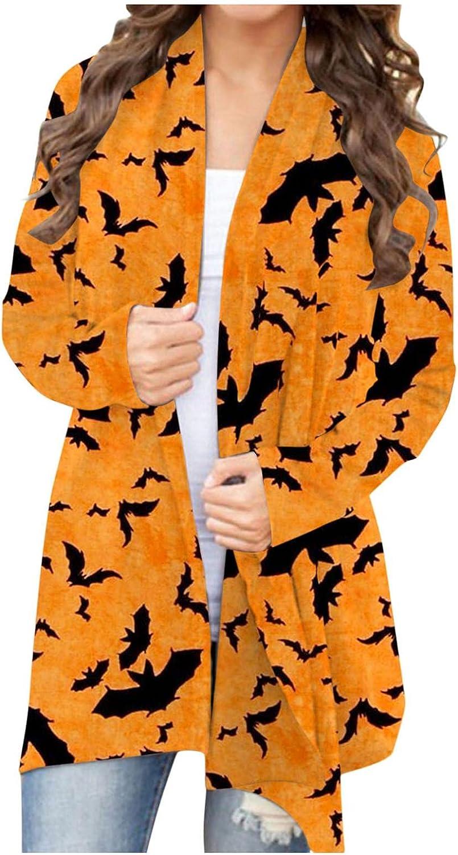 Halloween Sweatshirts for Women,Womens Halloween Sweaters Cardigan Open Front Black Cat Pumpkin Print Lightweight Coat