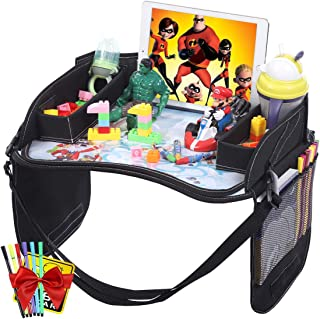 Innokids Kids Travel Lap Tray Children Car Seat Activity Snack and Play Tray Desk with Erasable Surface, iPad & Tablet Holder, Detachable Organizers for Cars, Planes & Baby Stroller (Black)