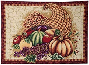 HomeCrate Fall Harvest Collection, Tapestry Cornucopia with Pumpkins and Fruits Design Area Rug, 19