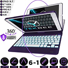 iPad Keyboard Case for iPad 2018 (6th Gen) - iPad 2017 (5th Gen) - iPad Pro 9.7 - iPad Air 2 & 1 - Thin & Light - 360 Rotatable - Wireless/BT - Backlit 10 Color - iPad Case with Keyboard (Violet)