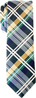 Men's Tartan Check Woven Microfiber Skinny Tie