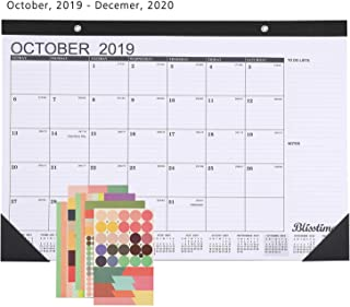 Blisstime Desk Calendar 2019-2020, 16.8 X 11.8 Inches, runs from October 2019 To December 2020, Monthly Wall Calendar/Desk Pad Planner for Office, School or Home
