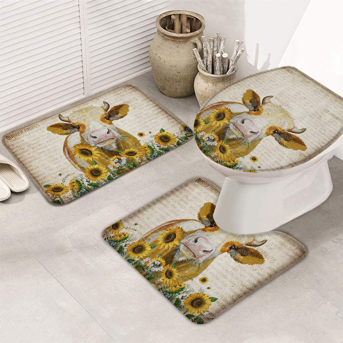 3 Piece Bathroom Rugs Max 86% OFF Set Bath Mat V Cows Sunflower On Farm Cute All items free shipping