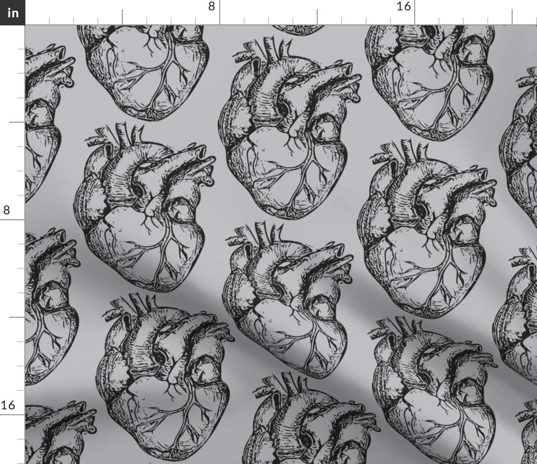 Spoonflower Fabric - 即納 Hearts Anatomical B Soft Heart Science 期間限定 Gray