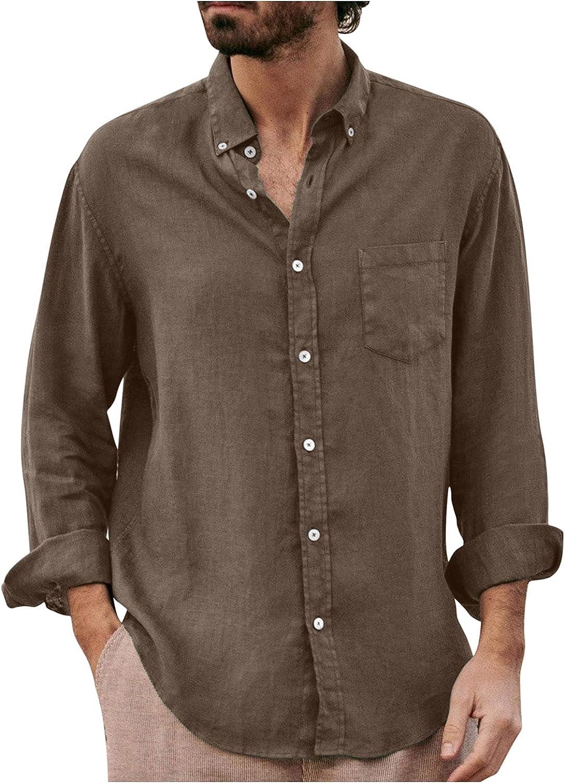 Huangse Mens Long Sleeve Shirts Cotton Linen Button-Down Holiday Shirts Summer Casual Hippie Beach Shirts Lightweight Tops