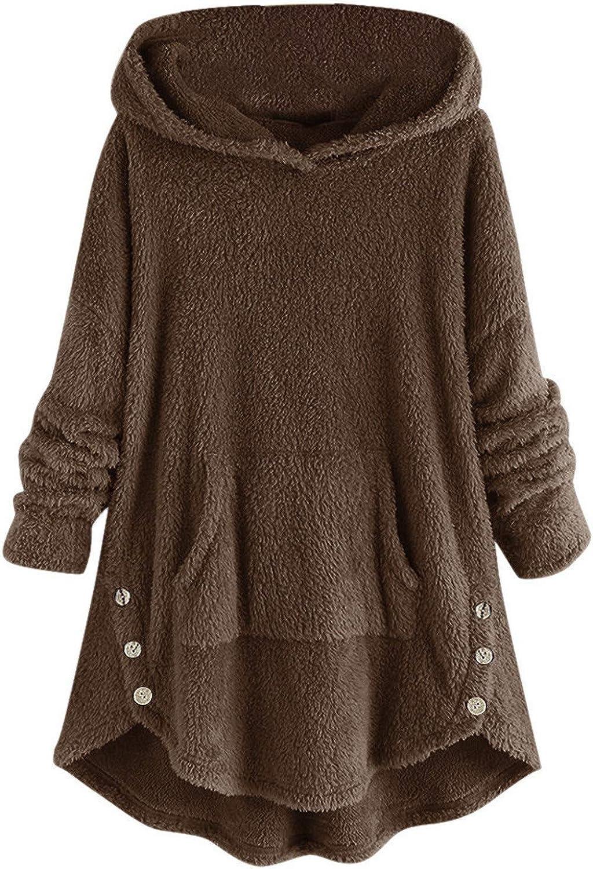 2021 Womens Fleece Button Hooded Coat, Plus Size Loose Pullover Tops Winter Sweatshirt Fluffy Sweater Outwear with Pockets