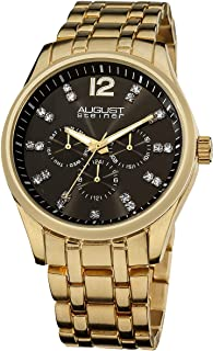 August Steiner Men's Dress Watch - Sunburst Black Dial with Crystal Hour Markers - Day of Week, Date, and 24 Hour Subdial ...