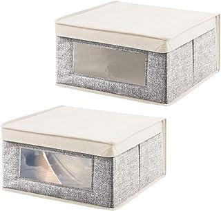 mDesign boîte de Rangement empilable (Lot de 2) – Caisse de Rangement Pratique avec hublot pour Bureau, Salon, Chambre, et...