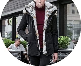 Jackets Mens Duck Down Coat Cashmere Fleece Man Jacket Coat Genuine Fur Hooded