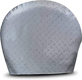 ADCO 3749 Silver Bus Diamond Plated Steel Vinyl Tyre Gard Wheel Cover, (Set of 2) (Fits 40