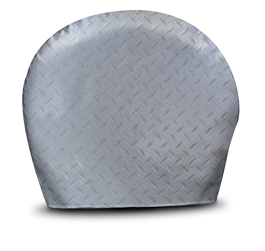 ADCO 3753 Silver #3 Diamond Plated Steel Vinyl Tyre Gard Wheel Cover, (Set of 2) (Fits 27