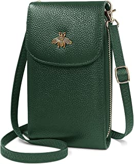 HNOOM Crossbody Phone Bag Women Genuine Leather Phone Bag Small Cellphone Crossbody Shoulder Bag Purse Wallet with 7 Card Slots Multi Compartment Phone Purse Bag with Shoulder Strap (Green)