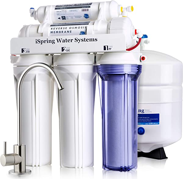 ISpring RCC7 High Capacity Under Sink 5 Stage Reverse Osmosis Drinking Filtration System And Ultimate Water Softener White
