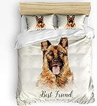 Soft Kids Duvet Comforter Cover Set Bed Sheet Set for Boys Girls,German Shepherd Dog Animal Pattern Bedding Sets for Women Men Bedroom Decor,Include 1 Comforter Cover with 2 Pillow Cases Full Size