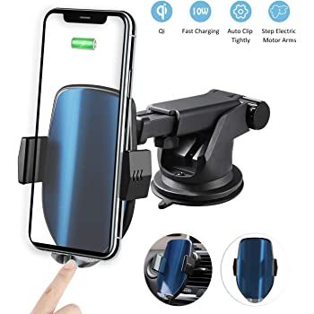 PFCKE Wireless Car Charger Mount Auto Clamping Dashboard Air Vent Car Phone Holder with 15W USB Fast Charging Car Charger Compatible with iPhone Samsung