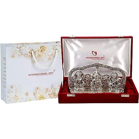 International Gift Silver Finish Laxmi Ganesh Sarswati God Idol With Beautiful Velvet Box Exclusive Gift For Diwali, Corporate Gift