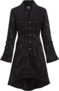 Womens Black Brocade Gothic Steampunk Floral Jacket Pirate Coat