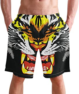 FFY Go Beach Shorts, Cool Tiger Printed Mens Trunks Swim Short Quick Dry with Pockets for Summer Surfing Boardshorts Outdo...