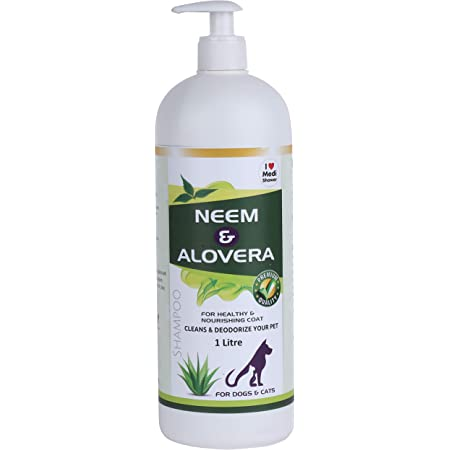 Medilogy Biotech Dog Shampoo Neem Aloe Vera Ayurvedic White Color 1 Litre Promotes Healthy Skin Coat Anti Bacterial Anti Fungal Anti Itch Anti Inflammatory