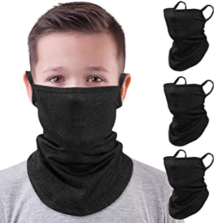 MoKo Kids Neck Gaiter Face Mask, 3 Pack Scarf Bandana Mask with Ear Loops UV Sun Protection Outdoors Balaclava for Girls Boys, Black - Small Size
