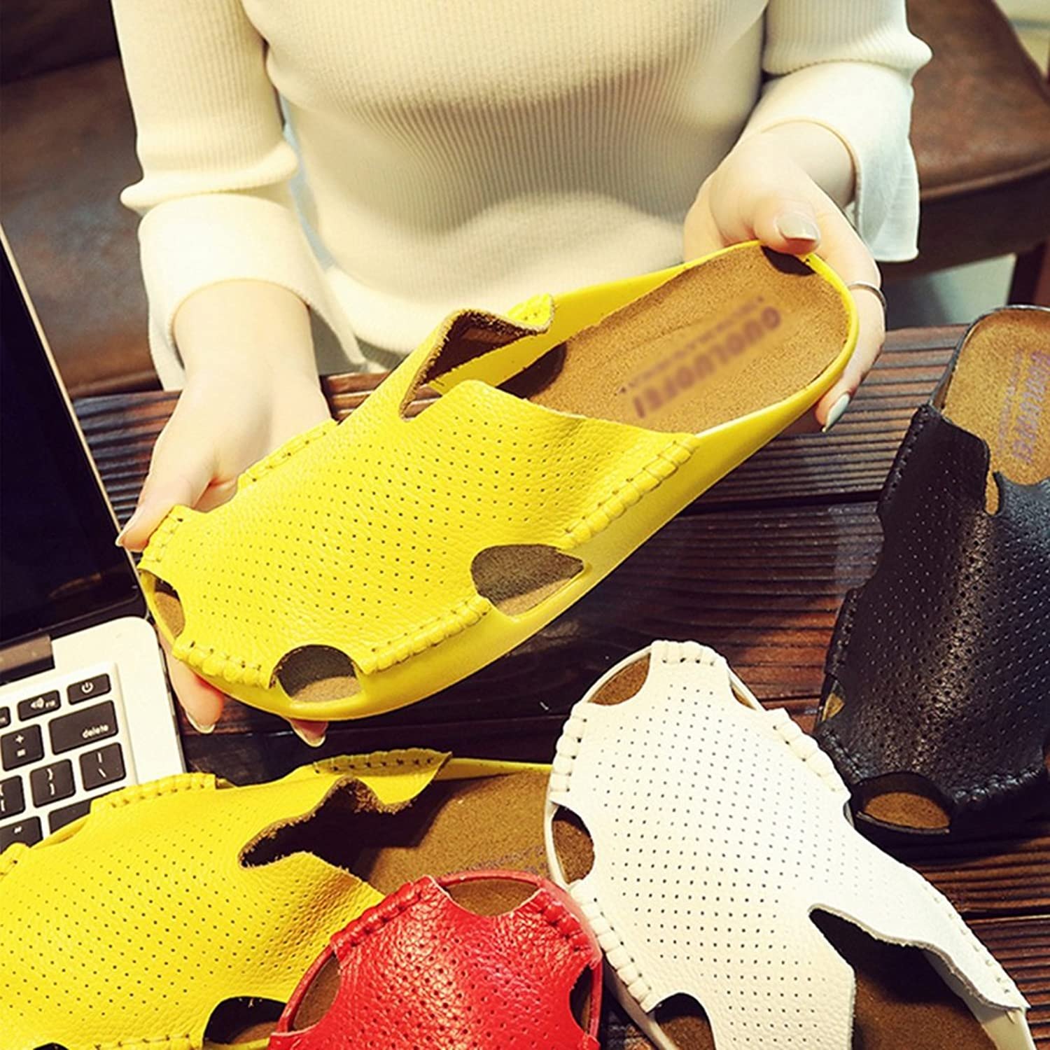 Ladies Beach shoes Leather Baotou shoes Outer Couple Pinghe Hole shoes ( color   Yellow , Size   35 )