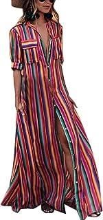 18e5f5577 Estivo Maxi Vestiti da Spiaggia Donna Casual Sciolto Mezza Manica Camicie  Vestito a Righe Moda Patchwork