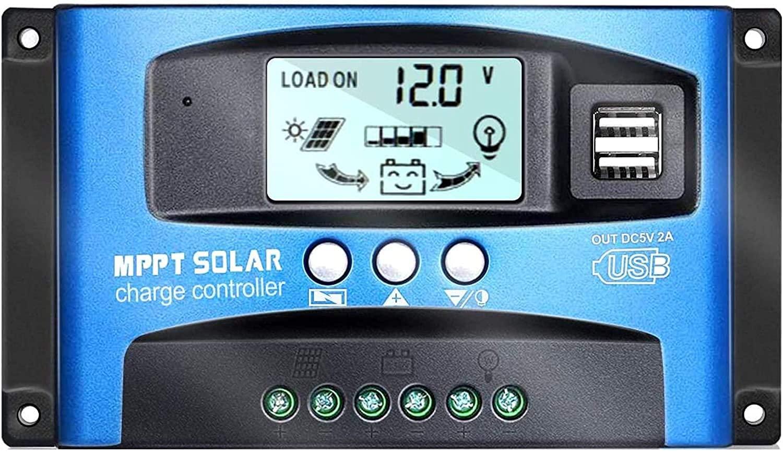 Y&H 100A Controlador de carga solar MPPT 12V / 24V con puerto USB dual, Pantalla LCD Controlador inteligente Panel solar automático para baterías de plomo ácido/Panel solar/Cargas