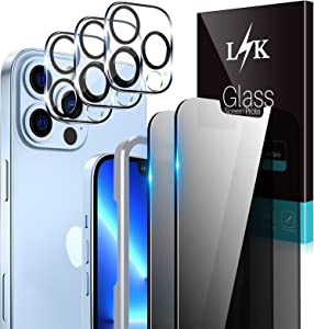 LϟK 2 Pack Privacy Screen Protector Compatible for iPhone 13 Pro Max 5G 6.7 inch with 3 Pack Camera Lens Protector [Not for iPhone 13 Pro] Tempered Glass Film, Case Friendly, Installation Tray