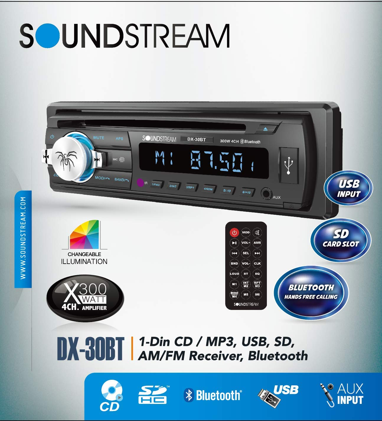 Soundstream DX 30BT Bluetooth Hands Free Detachable