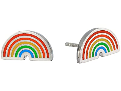 Alex and Ani Color Infusion Rainbow Stud Earrings (Silver) Earring