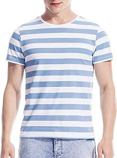 Mens Striped Shirt Basic Even Stripe Tee Basic Pattern T Shirt Top Cotton
