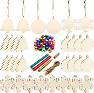 Unfinished Christmas Wooden Ornaments,30PCS Christmas Tree Ornaments 3 Style Natural Wood Slices for Kids DIY Art Crafts, ...