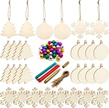 Unfinished Christmas Wooden Ornaments,30PCS Christmas Tree Ornaments 3 Style Natural Wood Slices for Kids DIY Art Crafts, 30pcs Jute Twine 30 Colorful Bells Christmas Gift Decoration