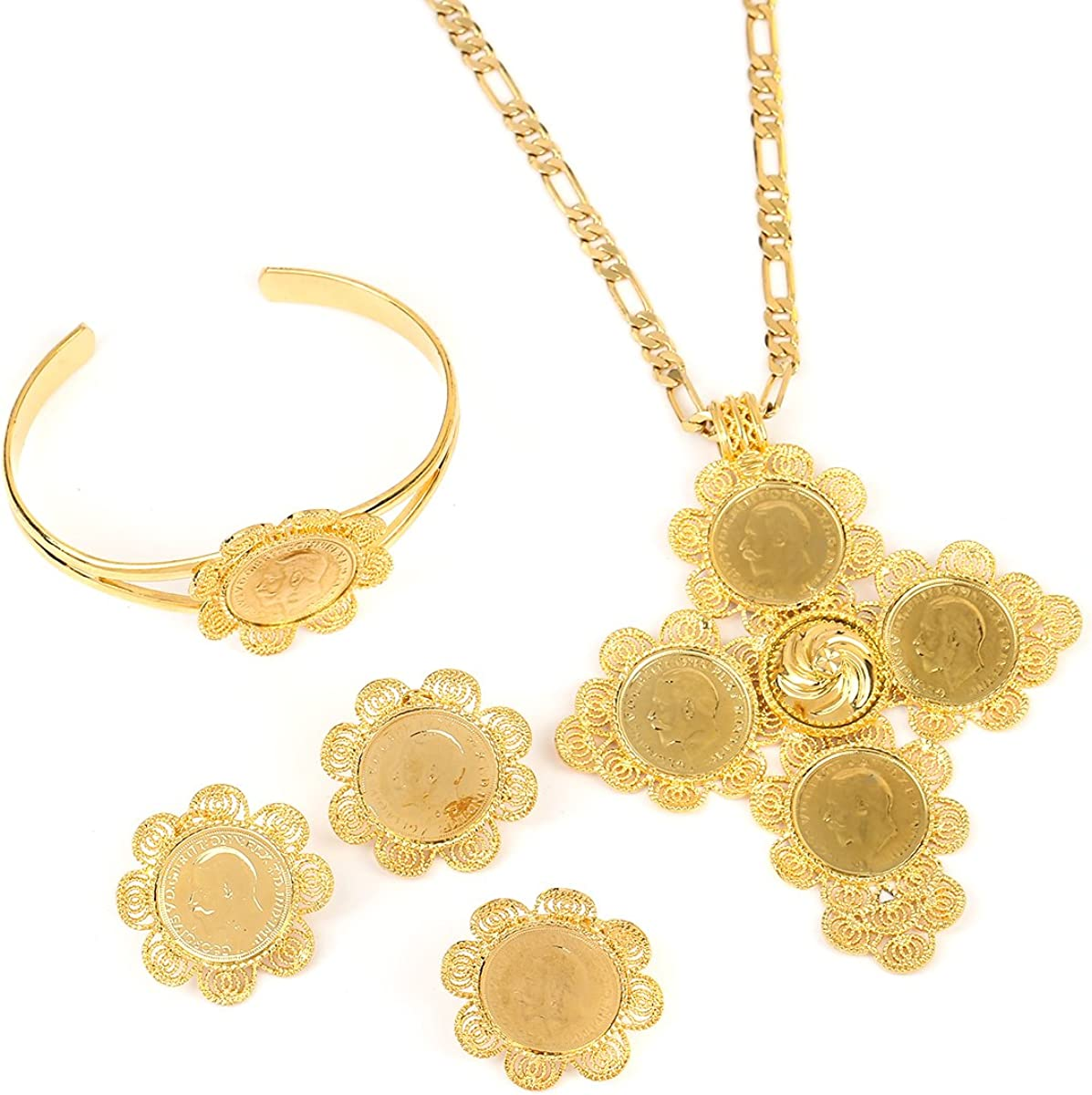 Traditional Ethiopian Coin Wedding Jewelry Sets Bridal Romantic Jewelry for Women