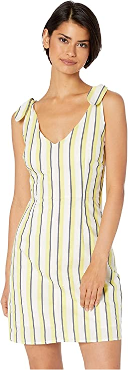 Marguerite Stripe Dress w/ Shoulder Ties