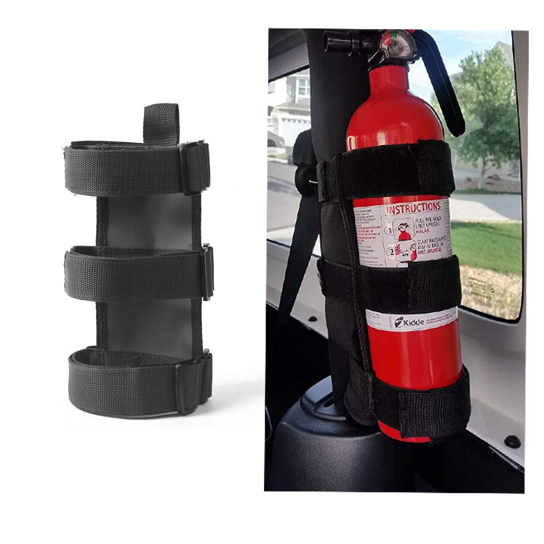 Black Roll Bar Fire Extinguisher Holder for 2007-2018 Jeep JK JL Wrangler /& Unlimited