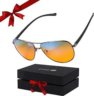 99.9% Blue Light Blocking Glasses - Aviator Orange Amber Blue Blockers Glasses - Women + Men - Computer Glasses - Gaming Glasses - Sleep Glasses - Sleep Better - Reduce Eye Strain + Migraine Headaches
