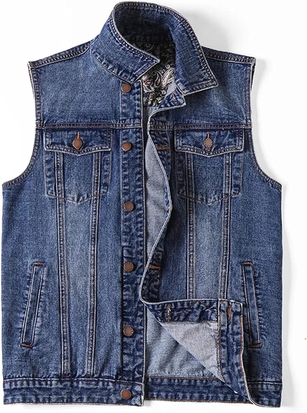 WFEI Men's Denim Vest Large Size 7XL Sleeveless Jacket Summer Fashion Waistcoat Male Casual Lightweight Vest/Gilet,Blue,5XL