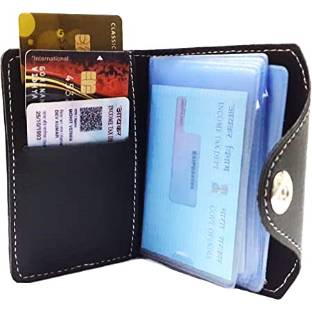 GreatDio® Pack of 1 Leather Credit Card Holder/Business Card Holder/ATM Card Holder for Men-10 Leafs Slot Holds Upto 20 Cards with 3 Pocket for Small Cards and 1 Side Pocket for Money(Black)