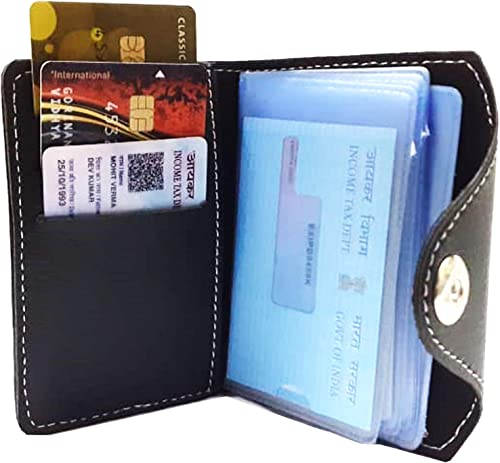 GreatDio® Pack of 1 Leather Credit Card Holder/Business Card Holder/ATM Card Holder for Men-10 Leafs Slot Holds Upto ...
