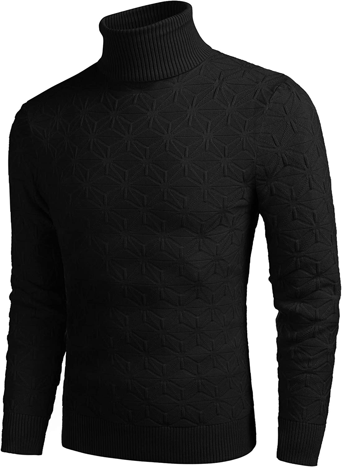 COOFANDY Men's Slim Fit Turtleneck Sweater Stylish Cotton Knitted Pullover Sweater