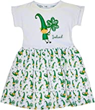 Traditional Craft White Ireland Leprechaun and Shamrock Print Kids Dress