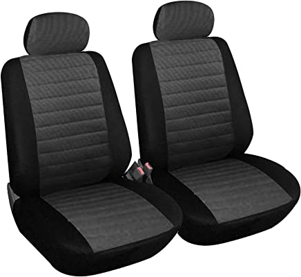 WOLTU 7231-2 Set Coprisedili Anteriori Auto 2 Posti Seat Cover Protezioni Universali per Macchina Tessuto Poliestere Grigio