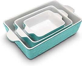 3-Piece Nonstick Ceramic Bakeware Set - PFOA PFOS PTFE Free Baking Tray Set w/ Odor-Free Ceramic Non-stick Coating, 446°F ...