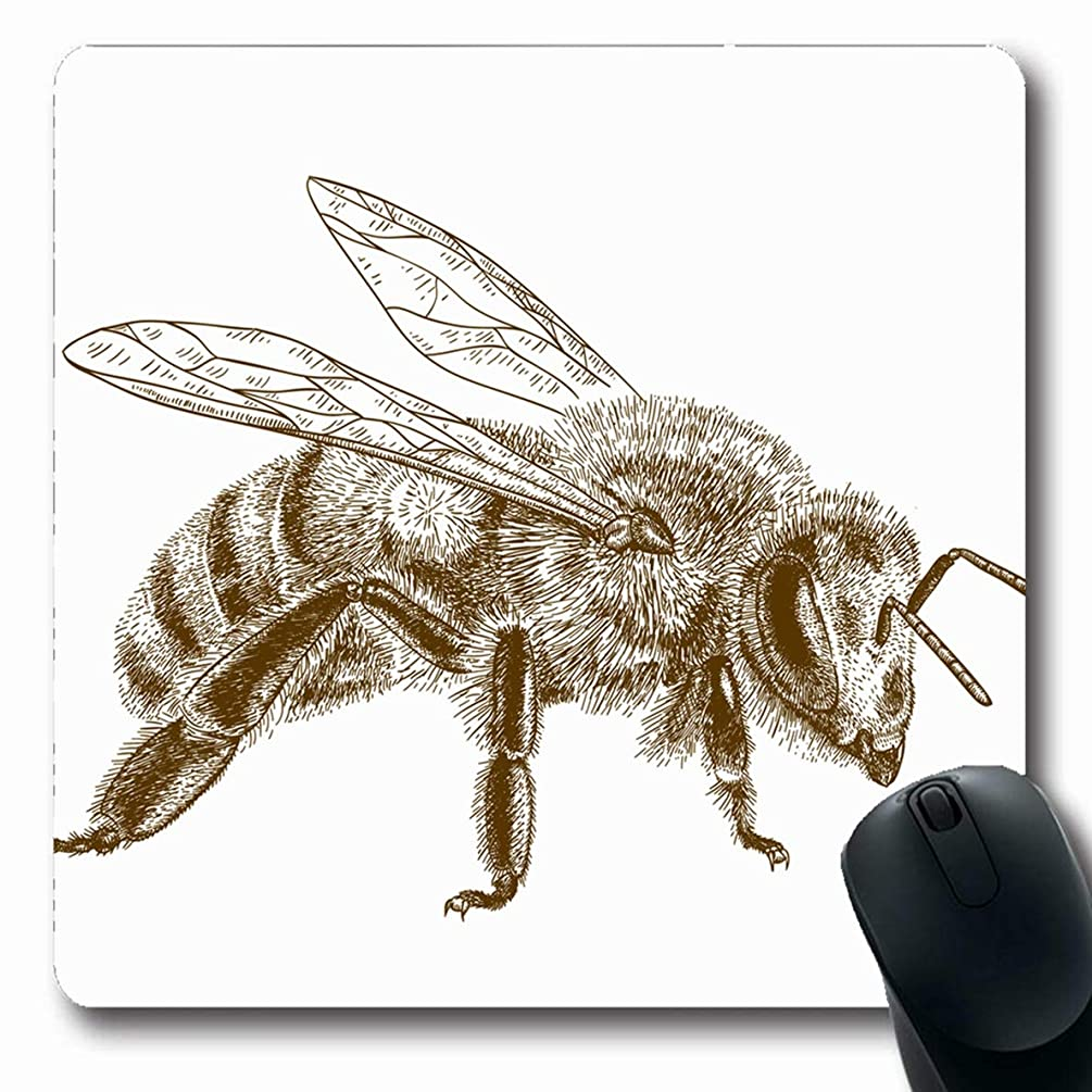 Ahawoso Mousepads for Computers Bee Drawing Engraving Antique Honey Vintage Woodcut Sketch Insect Old Pencil European Design Manual Oblong Shape 7.9 x 9.5 Inches Non-Slip Oblong Gaming Mouse Pad