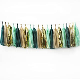 NICROLANDEE 20Pcs Wedding Party Tassel Sage Green Champagne Gold and Teal Tassel Garland for Rustic Style Bridal Shower Baby Shower Spring Decor Birthday Eucalyptus Neutral Decorations (Green)