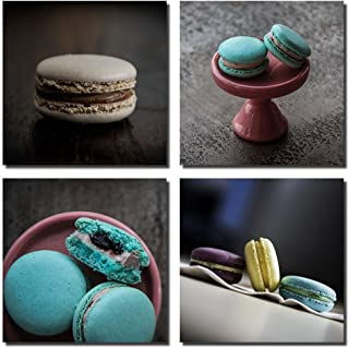 Gardenia Art - Macaroon Canvas Modern Wall Art Paintings Stretched and Framed for Room and Kitchen Decoration, Delicious Dessert Artwork for Room Decorations, 4 Panels per Set