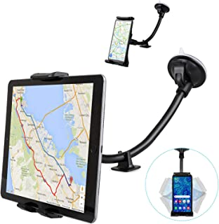 EEEKit Car Tablet Mount Holder, Windshield Mount Long Arm Suction Cup Mount for 4-12 Inch Tablet, Cell Phone or GPS Holder for Most Car Truck Vehicle